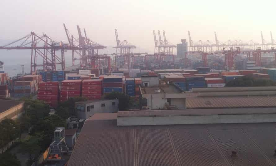 Cradle of the Chinese Dream? … The view out over Shekou container port from the top of the Guangdong Float Glass Factory silo building.