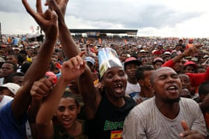 Supporters of presidential candidate Hery Rajaonarimampianina attend his last rally in Antananarivo, Madagascar, before the presidential elections on 20 December.