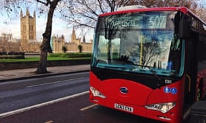 One of the first two fully electric buses in London, made by Chinese company BYD