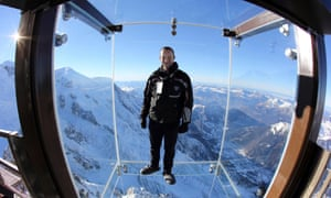 Mathieu Dechavanne, head of the Compagnie du Mont Blanc which runs the new attraction, steps into the box, which has stunning panoramic views over the French Alps.