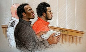 Court artist drawing from Old Bailey trial showing Michael Adebolajo (L) and Michael Adebowale (R)