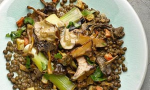 Yotam Ottolenghi's lentils with mushrooms and preserved lemon ragout