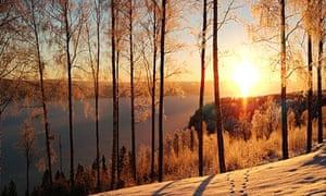 Winter view over lake Fryken in rural Varmland Sweden