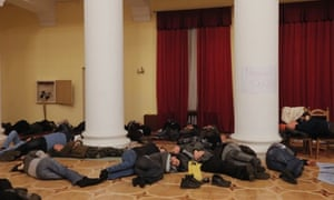 Protesters occupy the Kiev City Council after violent protests overnight.