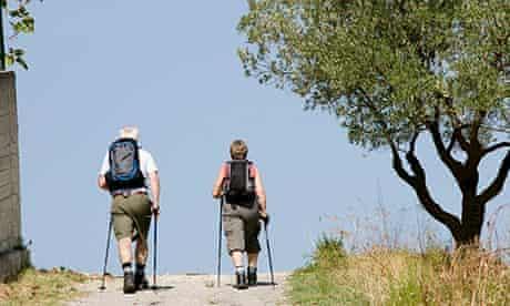 Older people hiking