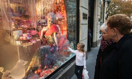 A holiday window display at Bergdorf Goodman in New York.