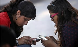 indian girls on mobile phones
