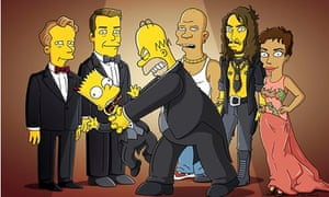 Homer and Bart Simpson with celebrity guests including Ricky Gervais, Russell Brand and Halle Berry
