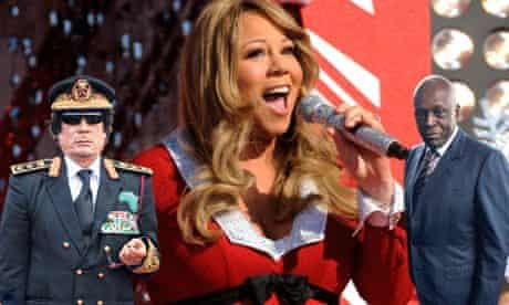 Mariah Carey with backing band Muammar Gaddafi and Jose Eduardo dos Santos.