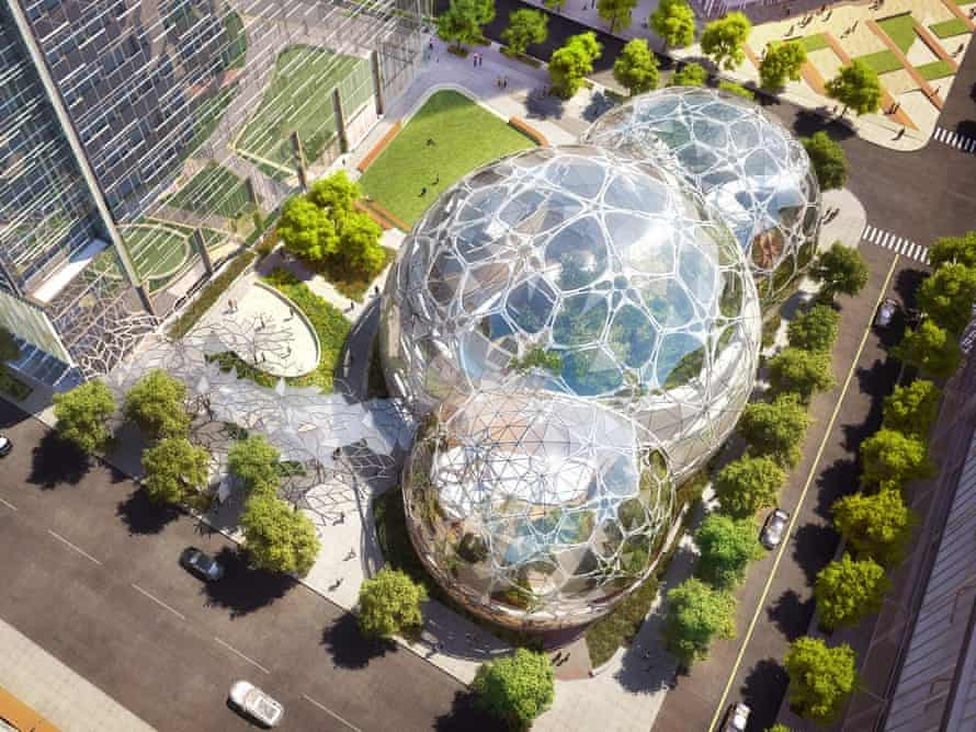 Amazon world … New Seattle HQ will take the form of three interconnect biospheres, filled with trees and vines.