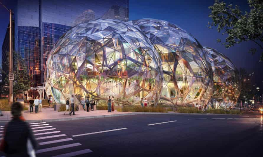 Bezos' balls … The complex is conceived as the 'social heart' of a 3.3 million sq ft complex of towers.