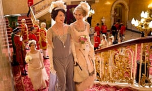'Endless tiaras and feathers': Elizabeth McGovern as Lady Cora with Lily James as Lady Rose in Downt