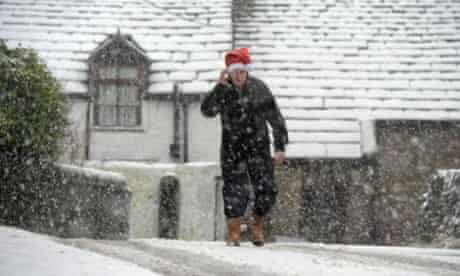 A Christmas storm has bought white out conditions in the north Pennines where heavy snowfalls blanketed the town of Nenthead, Cumbria.