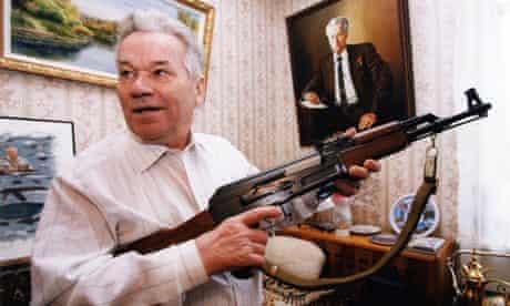 Mikhail Kalashnikov with the gun that bears his name.