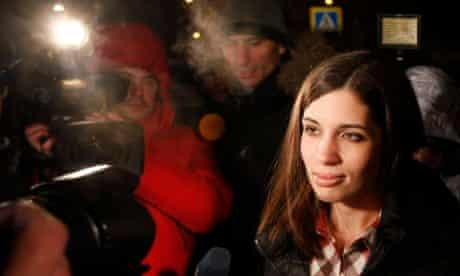 Pussy Riot member Nadezhda Tolokonnikova speaks to the media after she was released from prison