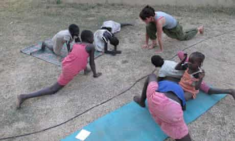 Hannah Rounding teaches yoga in South Sudan