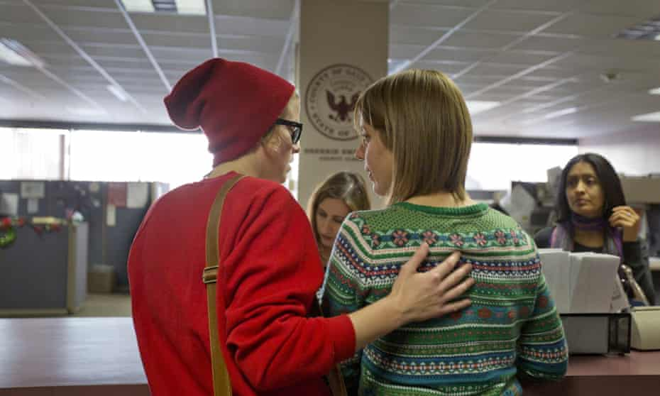A couple applies for a marriage license in the Salt Lake County Clerk's Office in Salt Lake City.