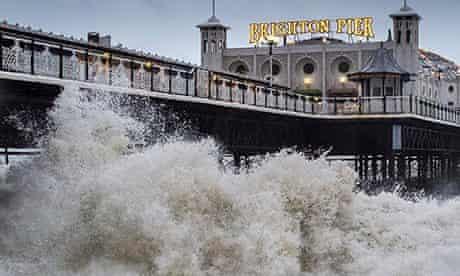 Powerful Waves Lash Against Brighton Pier