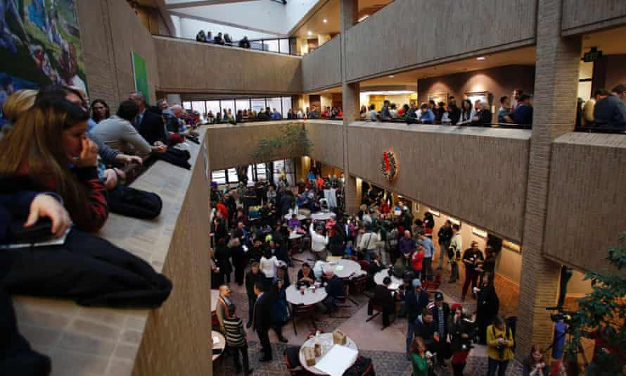 People line up to get marriage licenses at the Salt Lake County Government Building in Salt Lake City, Utah.