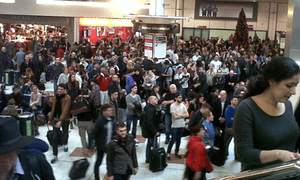 Frustrated travellers at Gatwick north Pic: Deborah Oliver