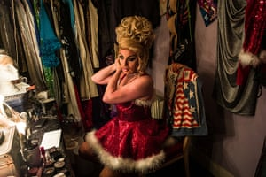 portraits of year: Zoe, host of the Funny Girls drag revue bar, prepares for a Christmas show