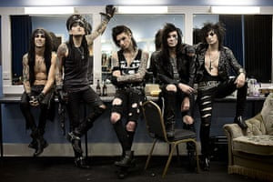 portraits of year: Black Veil Brides Rock bandin their dressing room before going on stage at