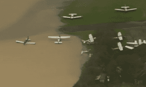 Planes submerged in flood water in Surrey