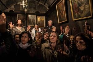 Top ten: Bethlehem: Pilgrims pray inside the Grotto where Christians believe the Vir