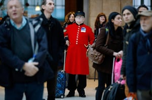 Top ten: London, UK: A Chelsea pensioner waits amongst crowds who were delayed or ha