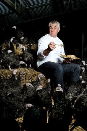 Portraits of year: Turkey farmer Paul Kelly tasting nut roasts in Danbury, Essex interviewed i