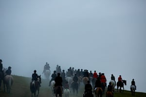 Boxing day hunt: The Pendle Forset and Craven Hunt annual Boxing Day meet at Gargrave, North