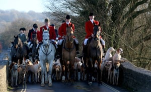 Boxing day hunt: Stuart Radbourne, huntsman and joint-master with the Avon Vale Hunt, leads