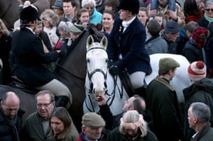 Boxing day hunt: Huntsman with the Avon Vale Hunt, toast supporters who have gathered