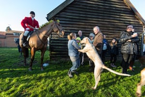 Boxing day hunt: Huntsman Gary Thorpe leads the East Essex Foxhounds Boxing Day Meet.
