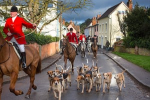 Boxing day hunt: Huntsman Gary Thorpe and First Whip James Tennant lead the East Essex Foxho