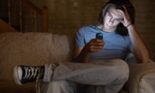 Teenager using social network