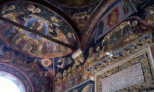 Centuries-old frescoes, Cozia Monastery
