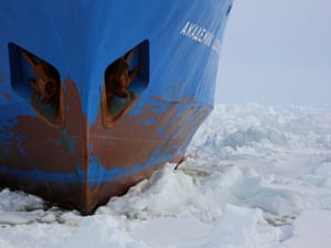 The icebound hull of the Akademik Shokalskiy