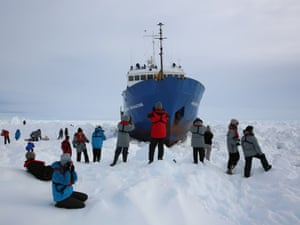 Members of the expedition stretch their legs