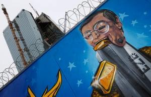 Graffiti: A graffiti depicting European Central Bank President Mario Draghi