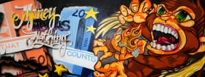 """Graffiti: A graffiti reading """"Money is Nothing"""" is seen at the European Central Bank"""