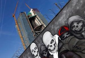 Graffiti: Skeletons in a ECB Frankfurt graffiti scene