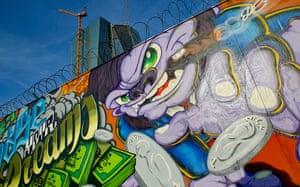 Graffiti: A graffiti at the new European Central Bank headquarters in Frankfurt