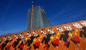 Graffiti: 14 repetitive Pinocchio's by graffiti artist, known as Case