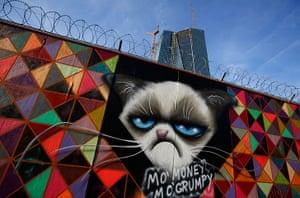 Graffiti: Grumpy Cat graffiti at ECB headquarters