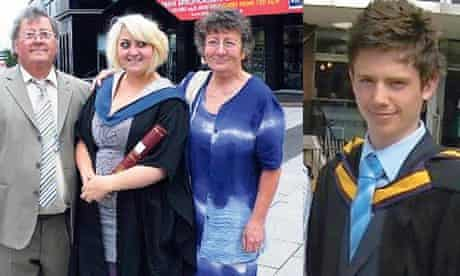Graduates Kiri Pritchard-Mclean (middle) and Huw Westmoreland