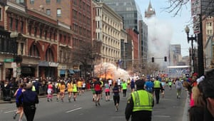 20 Photos: Runners at the finish line of the Boston Marathon after an explosion