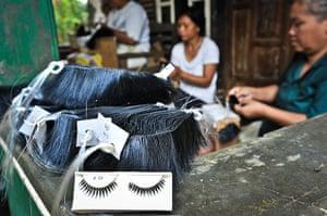 Eyelashes: An finished set of false eyelashes ready to be packaged