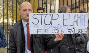Romanians and Bulgarians protest at Downing Street