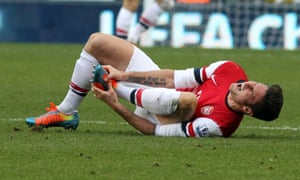 This happened a lot in the first half. Olivier Giroud on the ground.  (Photo by Ian Horrocks/Getty Images)
